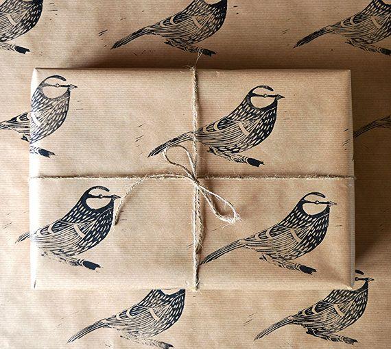Hand Printed Bird Gift Wrap