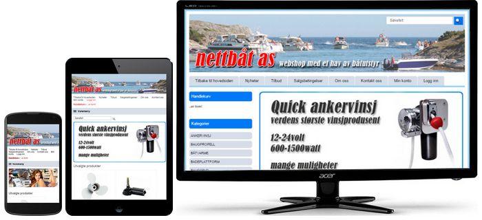Webshop for Nettbåt AS kodet om til å passe på alle skjermstørrelser. PC, nettbrett og mobil. Det var noen tusen linjer CSS kode og redigere på.