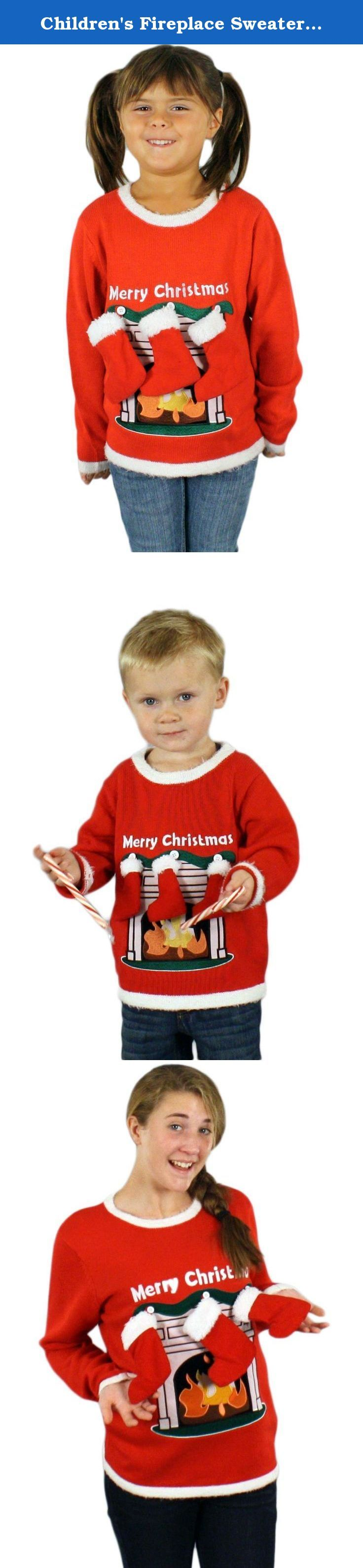 Children's Fireplace Sweater with 3-D Stockings in Red - Ugly Christmas Sweater ((4-7) Medium) By Festified. Similar to our lighted adult sweaters, this non-lighted version for kids is just as festive and merry! Real stockings are attached to the sweater by buttons and can be removed if necessary. This ugly sweater for kids is available in a wide range of sizes and its high-quality construction and materials mean it will look great and feel comfortable all season long. There are also…