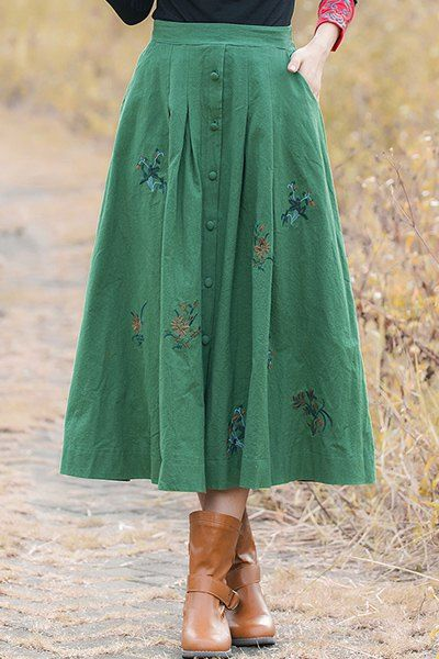Vintage Style Flower Embroidery Buttoned A-Line Skirt For Women
