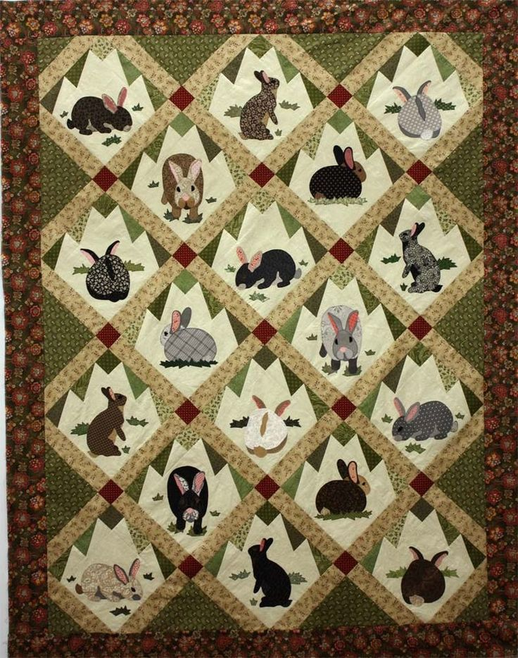 Rabbit Tracks Applique Quilt Pattern by Charlotte Warr Andersen - bunny bunnies #JWDPublishing