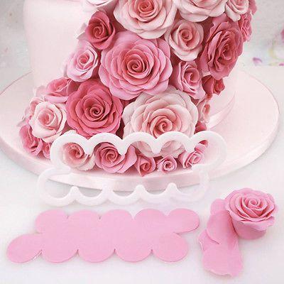 3D-Rose-Silikon-Petal-Blumen-Cutter-Kuchen-Form-Fondant-Werkzeug-Dekorieren-Mold