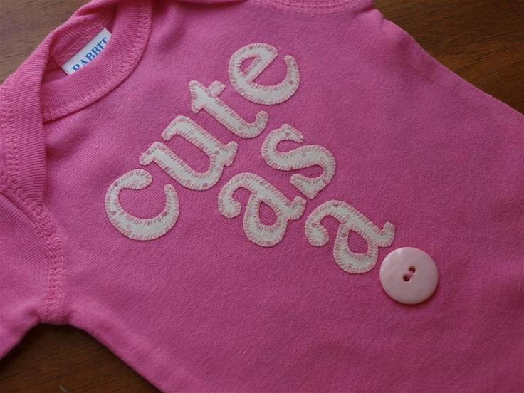Cute as a button girl onesie
