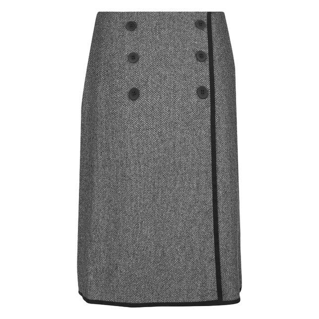 Симпатичная полушерстяная юбка А-образной формы, с высокой талией на запах MS 533
