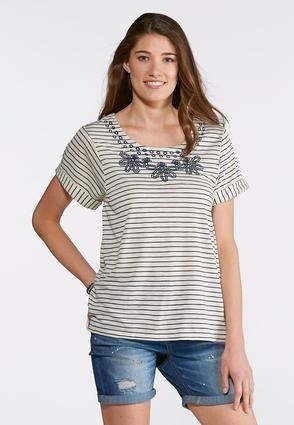 cbdedbfb6ab Cato Fashions Plus Size Stripe Embroidered Top #CatoFashions ...