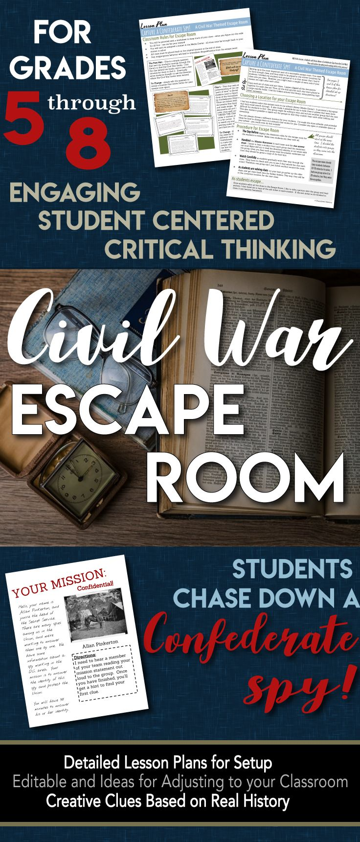 400 best us unit 6 civil war and reconstruction images by irene escape room break out civil war students chase a confederate spy fandeluxe Choice Image