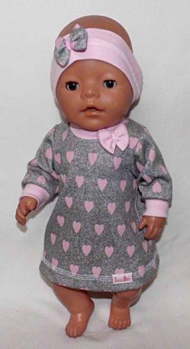 Puppenkleidung-Ein-Kleid-mit-Stirnband-fuer-Puppe-z-B-Baby-Born-43-cm-Neu