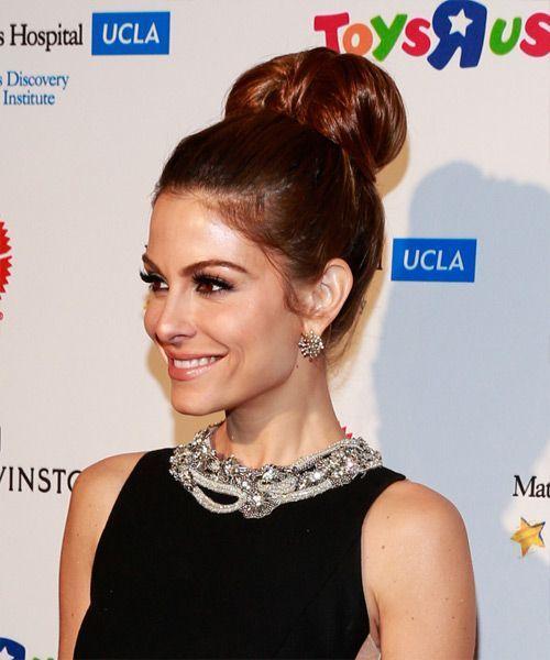 Maria Menounos Long Straight Formal Updo Hairstyle – Mahogany Red Hair Color