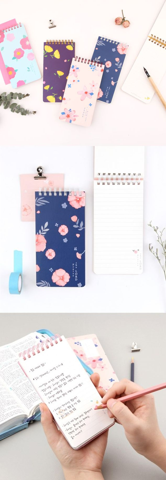 The flowery cover design and bible verse make this notebook graceful. The Flower Handy Notebook has a  perfect size and elegant design to carry with at all time!