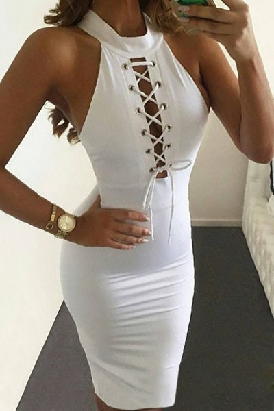 Lace Up Mock Neck Sleeveless Bodycon Dress WHITE: Bodycon Dresses | ZAFUL