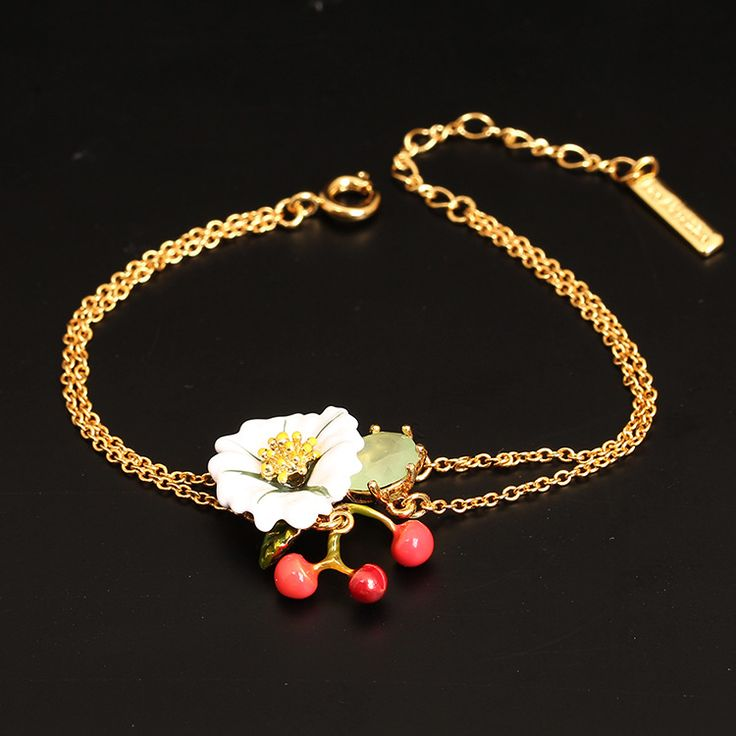 Les Nereides Paris Enamel Romantic Bracelet Red Cherry Flowers Fashion Gold Chain For Women Lady Party Jewelry