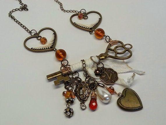 Antique Brass Key Charm Necklace Swarovski Crystal by 13Crows
