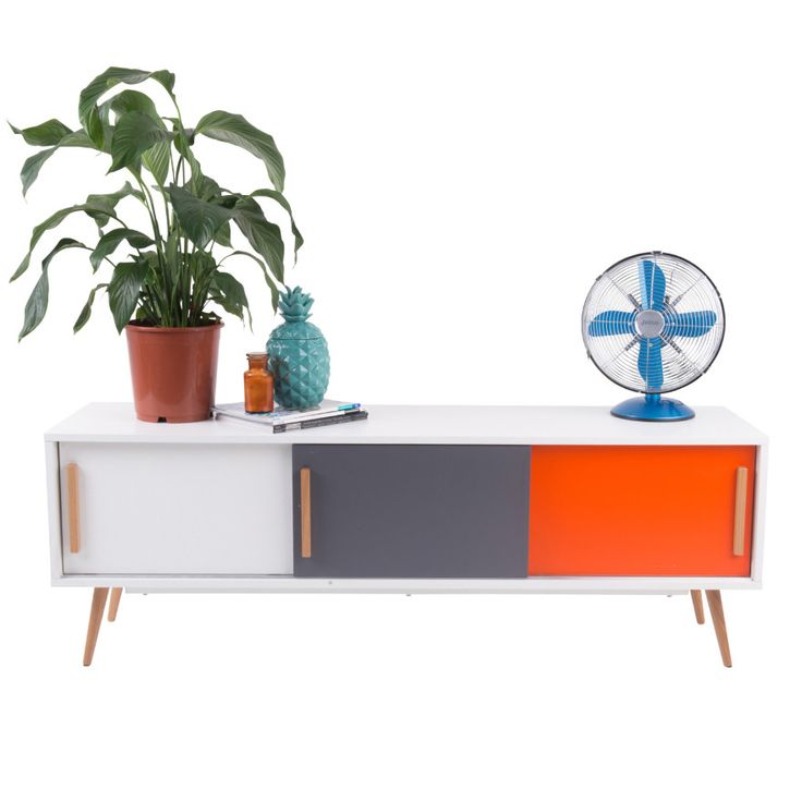 Hyatt TV Stand with 3 Cabinets - 18mm MDF Wood with Matte Gloss Finish & American White Oak Wood Legs - Scandinavian Style Furniture for Home or Office - White/Grey/Orange