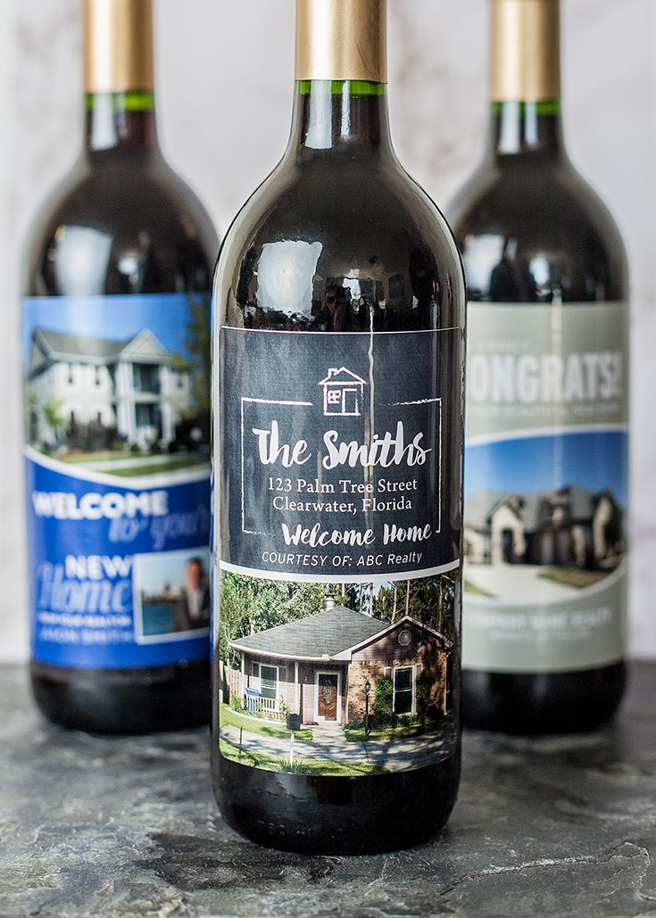 Welcome home your client with a personalized bottle of wine to thank them for working with you:)