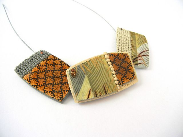 """Pebbles for Kyoto"" - necklace (polymer clay and Washi paper) by Sonya Girodon."