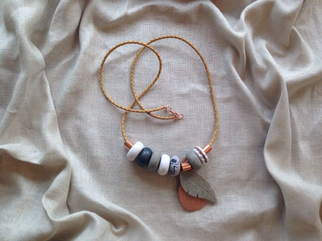 Handmade necklace from leather, polymer clay beads and charms, Rose gold and copper detailing
