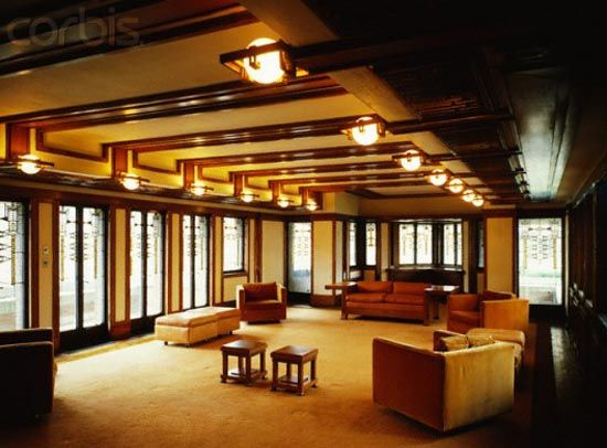 Prairie style interiors classic prairie style home for Frank lloyd wright interior designs