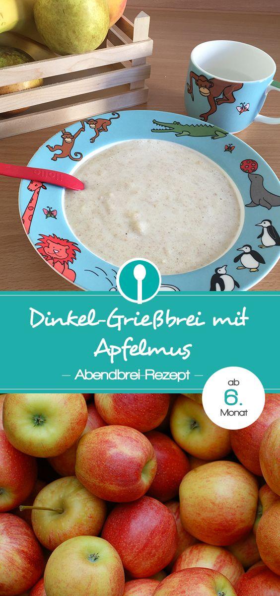 Abendbrei Rezept mit Grieß: Grießbrei mit Apfelmus für Babys ab dem 6.Monat.