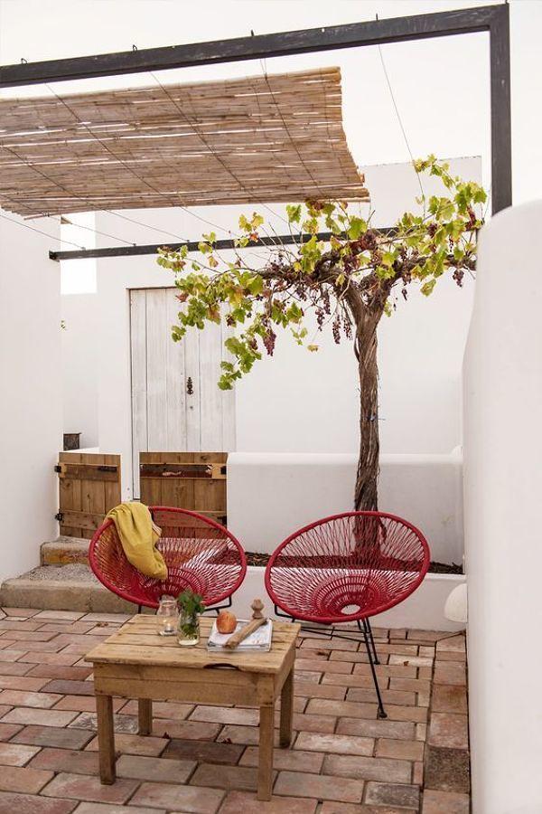 terraza con piso de barro