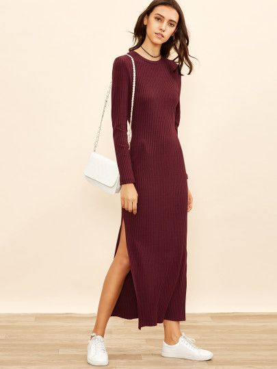 Shop Burgundy Long Sleeve High Slit Ribbed Dress online. SheIn offers Burgundy Long Sleeve High Slit Ribbed Dress & more to fit your fashionable needs.