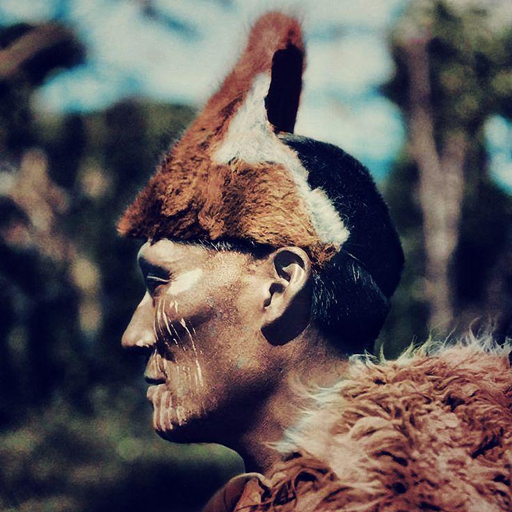 Photography of Martin Gusinde, 1923, Tierra del Fuego, Selknam Man named Halimink.