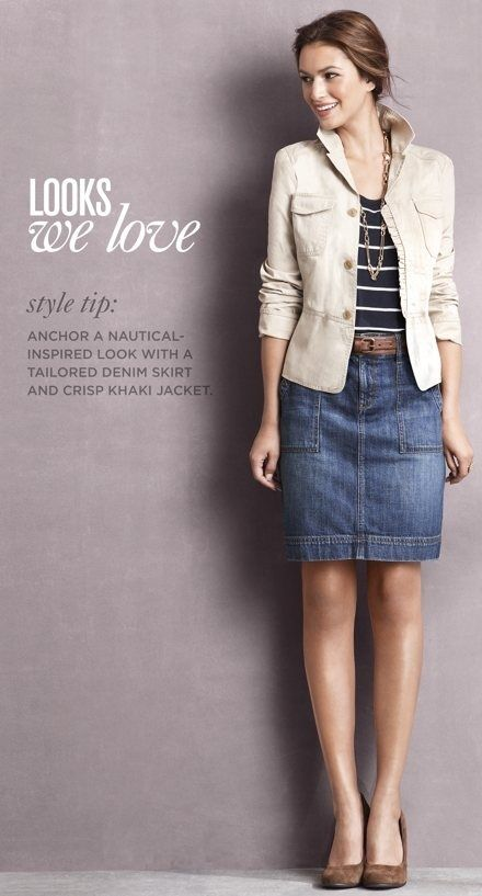 ThanksOutfit: striped tee + blazer + denim pencil skirt. Winterize with tights and boots? awesome pin
