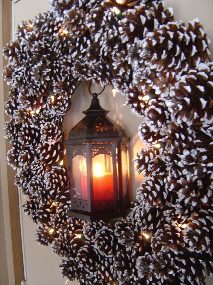 DIY Christmas front door wreath made out of pine cones!!! Bebe'!!! A great Wreath For Christmas and The Winter Months!!!