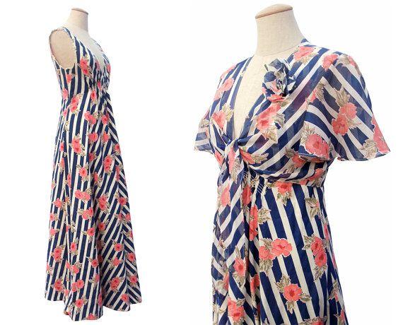 Vintage 1970s Maxi Dress Bolero Jacket Stripe by mysweetiepiepie: Vintage Maxi, 1970S Maxi, Maxi Dresses