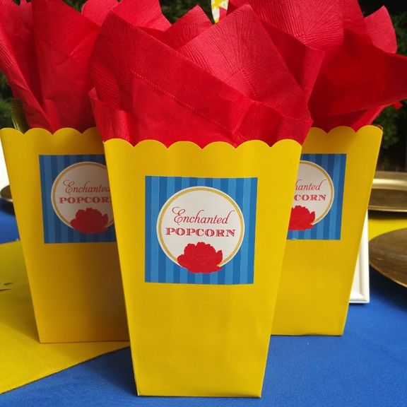 "Beauty and The Beast Princess ""Enchanted Popcorn"" Favor Tags"