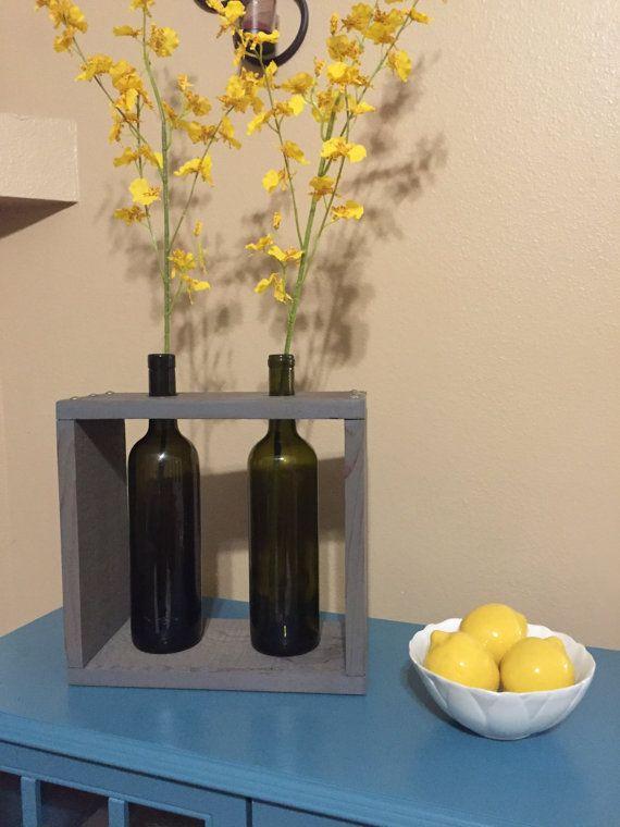 recycled wine bottle, Wine box, Wine bottle vase, wine bottle decor, wine gift…