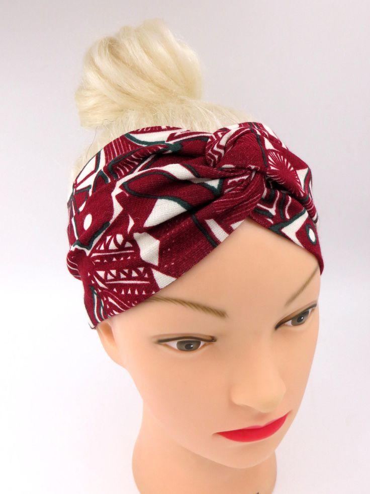 African print headband tribal headband twist headband burgundy ethnic headband turban knot headband yoga headband ethnic print headwrap yoga di ragazzamagica su Etsy