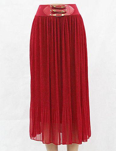 Femme Grandes Tailles Jupes Couleur Pleine Paillettes,Taille Normale Bohème Maxi Polyester Extensible Toutes les Saisons de 4777475 2017 à €14.69