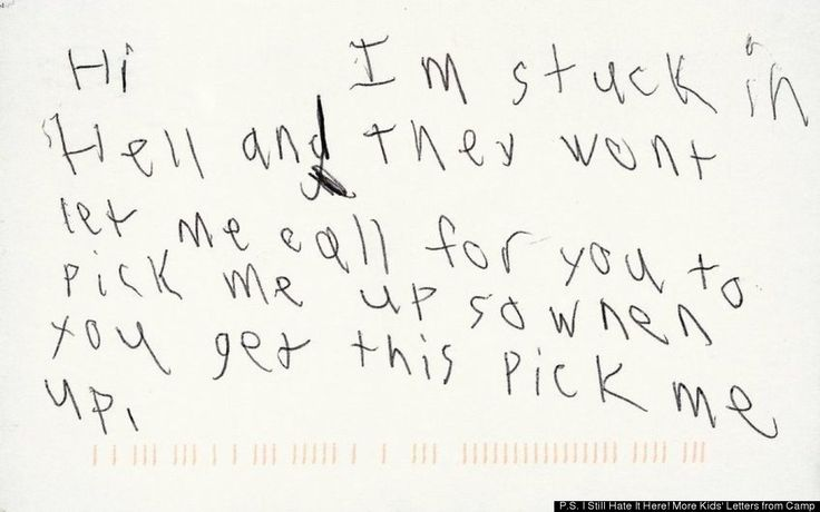 I'm stuck in hell! Hilarious Kid Letters From Camp