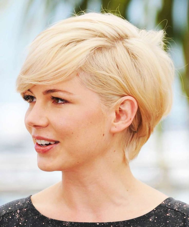 Very cute short cut not a pixie and not a bob has layers and swept to the side