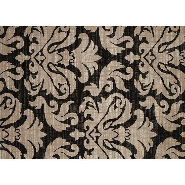 United Weavers China Garden Lotus Canvas Damask Rug, Black