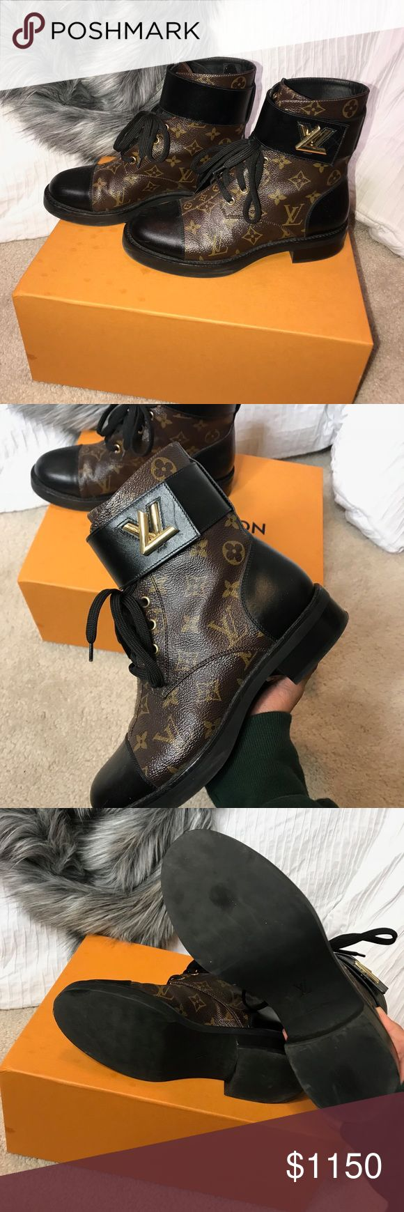 Authentic Louis Vuitton Wonderland Boots 100% authentic. Had this for awhile but I just didn't get to wear is as much so I'm hoping to sell this to someone who will wear them💖  size 38 which is a 8 (The length of my foot is 11 inches) if you have any questions please ask! Comes with extra laces and dust bag and original packaging Louis Vuitton Shoes Combat & Moto Boots