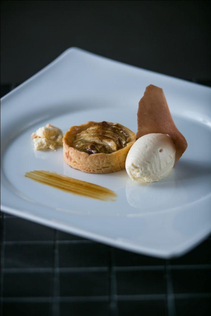 French apple tarte with creme fraiche ice cream