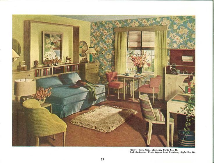 vintage blue and yellow sitting room 1940