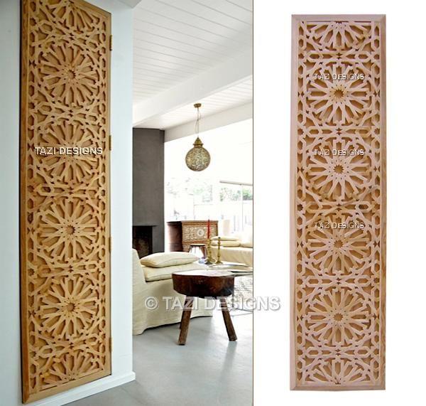 Moorish geometric lattice woodwork for closet door. A touch of craftsmanship in a California home. By Tazi Designs