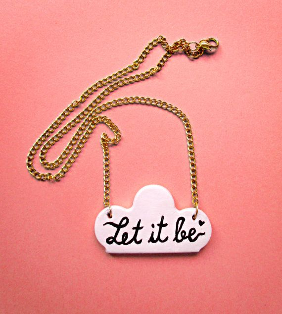 LET IT BE Necklace Thin Golden Chain Cloud Hadpainted by MerunaArt #beatles