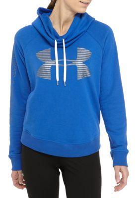 Under Armour Women's Fav Flc Metallic Logo Hoodie - Blue/Silver - S
