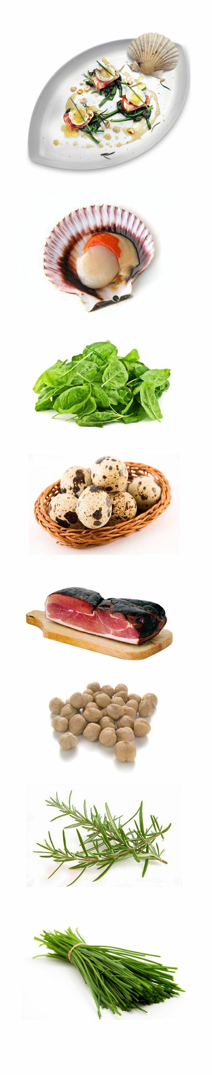 Capesante scottate, spinaci, speck, uova di quaglia e nocciole - http://www.fruttaebacche.it/capesante-scottate-e-nocciole/ #recipes #delicious #creativerecipes
