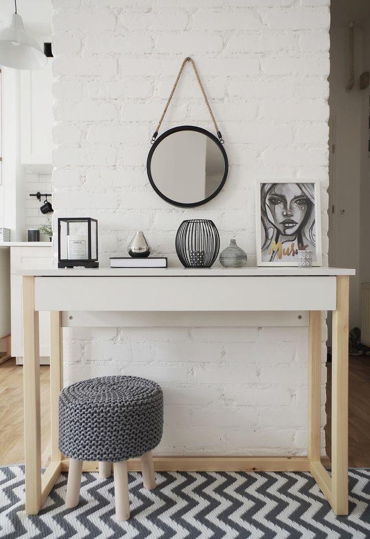 Console with drawer. Pine legs + white board.  #dotsmylove #ilovepoland #scandinavian #design #womeb #furniture