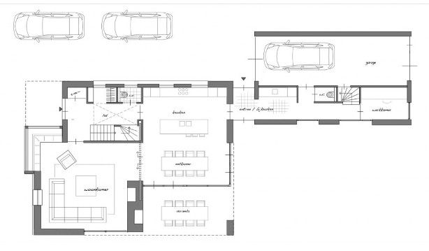 Qua indeling misschien een idee omdat in de garage de bijkeuken werkkamer en bergzolder is - Plan indoor moderne woning ...