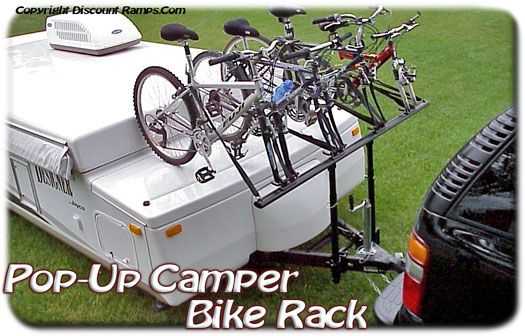 Pop-Up Camper Bike Rack from Discount Ramps is an ingenious way to bring along your bicycles for the family camping trip! Haul two to four bikes with these bike carriers, or increase the capacity to six bicycles with an optional accessory kit.