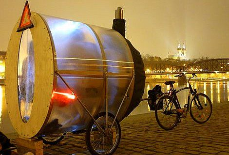 Grappig! Sauna fiets in Praag!