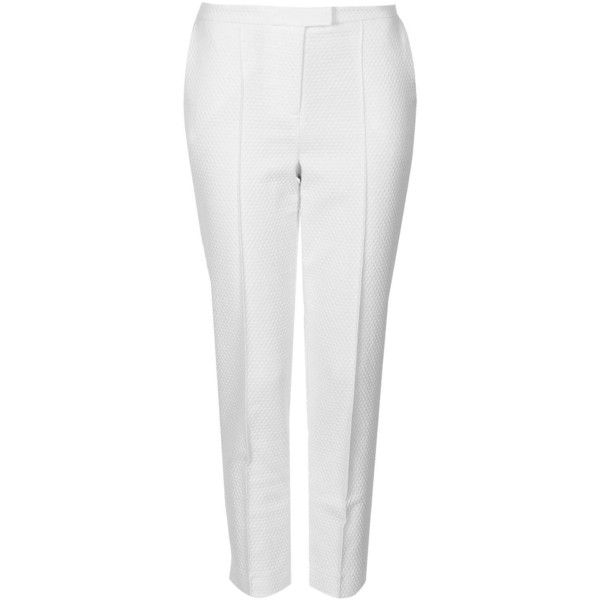 TOPSHOP Clean-Cut Textured Cigarette Trousers (£22) ❤ liked on Polyvore featuring pants, trousers, bottoms, jeans/pants, white, cigarette trousers, white cigarette pants, white pants, white cigarette trousers and topshop pants