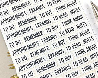 Etiquetas engomadas de la palabra, cabeceras de planificador, planificador pegatinas, bala diario Stickers, negro y blanco, tiras de la palabra, 56 pegatinas