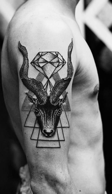 Goat with a diamond tattoo on the arm of this guy. #tattoo #tattoos #ink