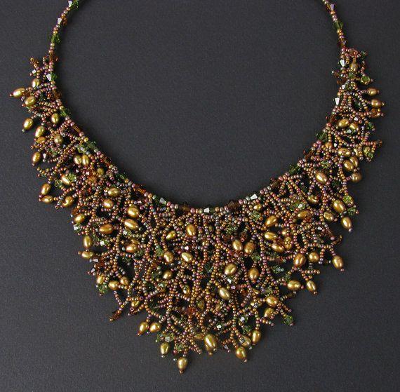 Golden Goddess Beaded Fringe Necklace